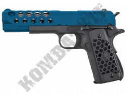 WE Hex Cut 1911 Replica Pistol Gas Blowback Metal Airsoft BB Gun 2 Tone Blue Black